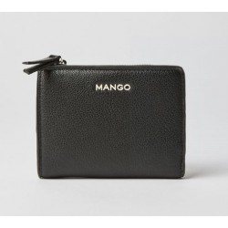 Mango Zip Pebbled Wallet Black