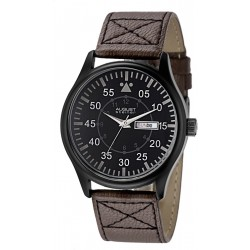 August Steiner Men's Black Dial Leather Band Watch